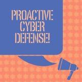 Inscription de la note montrant la défense proactive de Cyber Anticipation de présentation de photo d'affaires pour s'opposer à i illustration de vecteur