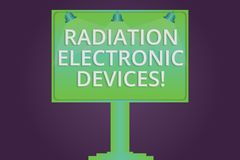 Inscription de la note montrant des appareils électroniques de rayonnement La radiofréquence de présentation de photo d'affaires  illustration de vecteur