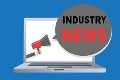 Inscription de la note montrant des nouvelles d'industrie Photo d'affaires présentant le constructeur commercial technique Man de illustration libre de droits