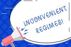 Inscription de la note montrant des régimes incommodes Photo d'affaires présentant excessivement l'adhérence stricte à une pl illustration libre de droits