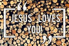 Inscription de la note montrant Jesus Loves You La présentation de photo d'affaires croient en Lord To ont la foi religieuse image stock