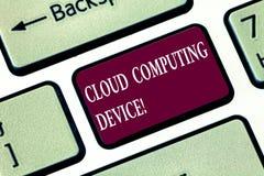 Inscription de la note montrant le dispositif de Cloud Computing Photo d'affaires présentant les piscines partagées du système in photos stock