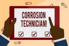 Inscription de la note montrant le technicien de corrosion Contrôle de corrosion de présentation d'installation et de maintien  illustration stock