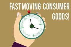 Inscription de la note montrant les biens de consommation rapides Grand volume de présentation de photo d'affaires de vente au dé illustration libre de droits