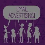Inscription de la note montrant la publicit? d'email Acte de pr?sentation de photo d'affaires d'envoyer un message commercial ? l illustration de vecteur