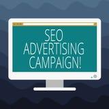 Inscription de la note montrant Seo Advertising Campaign Photo d'affaires présentant favorisant un site pour augmenter le nombre  illustration stock
