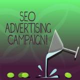 Inscription de la note montrant Seo Advertising Campaign Photo d'affaires présentant favorisant un site pour augmenter le nombre  illustration de vecteur