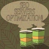 Inscription de la note montrant Seo Servers Optimization Photo d'affaires présentant le fonctionnement de réseau de SEO à l'effic illustration libre de droits