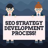 Inscription de la note montrant Seo Strategy Development Process Optimisation de présentation de moteur de recherche de photo d'a illustration stock