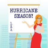 Inscription de la saison d'ouragan d'apparence de note Moment de pr?sentation de photo d'affaires o? la plupart des cyclones trop illustration libre de droits