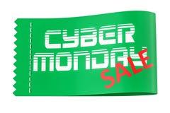 Inscription de lundi de Cyber sur l'étiquette d'habillement, rendu 3D Images stock