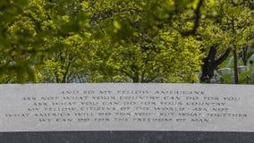 Inscription de mémorial de JFK Images stock