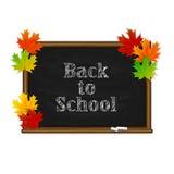 Inscription de nouveau à l'école et tableau noir sur le backgro blanc Photo stock