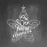 inscription de 365 nouvelle occasions encadrée dans le jouet d'arbre d'étoile Calligraphie tirée par la main marquant avec des le Photographie stock