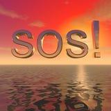 Inscription de SOS au-dessus de la surface de l'océan illustration stock