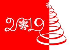 Inscription de 2019 sur un fond rouge Style de mode pour nouveau Yearwith heureux l'inscription 2019 avec des flocons de neige, a illustration de vecteur