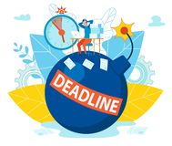 Inscription Deadline on Bomb Vector Illustration. vector illustration