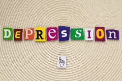 Inscription depression. A word writing text depression made of different magazine newspaper letter on a bright background. royalty free stock image