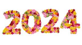 Inscription 2024 des fleurs fra?ches photos stock