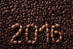 Inscription 2016 des grains de café Images stock