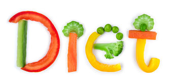 Inscription diet of vegetables Royalty Free Stock Images