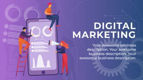 Inscription Digital Marketing Banner Cartoon. royalty free illustration