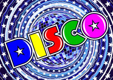 Inscription disco on the abstract background Stock Photos