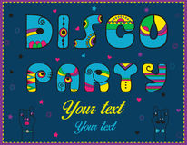 Inscription Disco Party. Funny blue Letters Stock Image