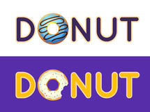 Inscription donut vector. Name of the coffee or pastries. Donut Royalty Free Stock Image