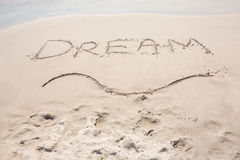 Inscription dream on sand Royalty Free Stock Images