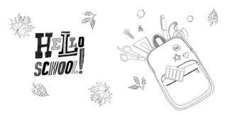 Inscription du bonjour, école Concept à la mode Vecteur noir et blanc Images libres de droits