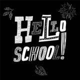Inscription du bonjour, école Concept à la mode Vecteur noir et blanc Image libre de droits