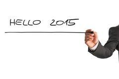 Inscription du bonjour 2015 sur le tableau blanc virtuel Photos stock