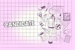 Inscription du candidat d'apparence de note Démonstration de présentation de photo d'affaires qui fait acte de candidature pour l illustration libre de droits