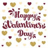 Inscription du jour de valentines heureux sur le fond avec des coeurs Illustration de vecteur pour le jour du ` s de Valentine image stock