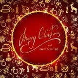 Inscription du Joyeux Noël sur le fond rouge avec le decorati d'or illustration libre de droits