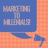 Inscription du marketing d'apparence de note à Millenials La présentation de photo d'affaires soit Internet socialement relié int illustration stock