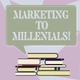 Inscription du marketing d'apparence de note à Millenials La présentation de photo d'affaires soit Internet socialement relié int illustration de vecteur