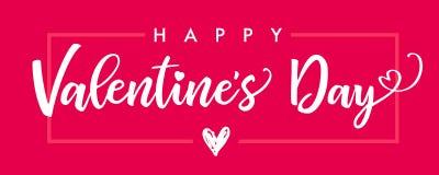 Inscription du rose heureux de bannière de jour de valentines Image libre de droits