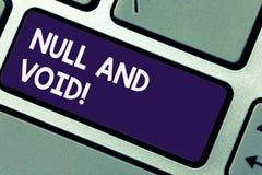 Inscription du showingNull et du vide de note Annulation de présentation de photo d'affaires un contrat n'ayant aucun clavier ine photographie stock