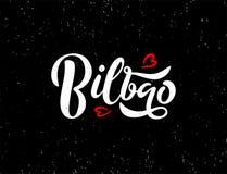 Inscription du texte de l'Européen ou de la ville de l'Europe Bilbao sur le fond noir avec la texture et les coeurs rouges illustration stock