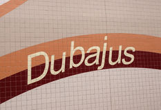 Inscription Dubai in Lithuanian Royalty Free Stock Photo
