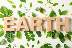 Inscription earth and greenery on light background, closeup. Environmental protection. Agriculture royalty free stock photos