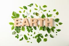 Inscription earth and greenery on light background, space for text. Environmental protection. Agriculture royalty free stock photo