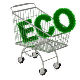 Inscription ECO in the supermarket cart Royalty Free Stock Images
