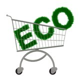 Inscription ECO in the supermarket cart. Stock Photos