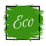 Inscription Eco. Vector abstract background. Green paint in blac. K square. Design in grunge style. It can be used for poster, sale banner, logo, headline Stock Photos