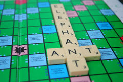 Inscription elephant and ant. Made of scrabble tiles Royalty Free Stock Images