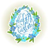 Inscription et oublier-moi d'oeufs de pâques fleurs Photographie stock