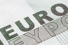The inscription `euro` close-up Stock Photography